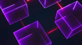 spektrum : Connection structure of many neon cubes. Computer generated abstract isometric background, 3d rendering