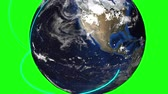filare : Computer generated Earth connection in outer space. Close-up of a spinning planet with neon connecting beams. Filmati Stock