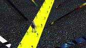 disfraces : Computer generated an abstract composition in outer space. The astronaut is walking along a narrow yellow way. 3d rendering of a futuristic background