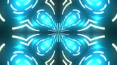 tükör : Abstract kaleidoscope of luminous neon lines forming the petals and circles. 3d rendering computer generated background Stock mozgókép
