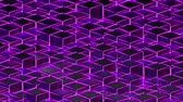 3d rendering background of isometric neon cubes located at different levels. Computer generated abstract geometric frame.