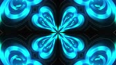 Kaleidoscope of luminous ring glass stripes forming beautiful hearts. 3D rendering computer technology backdrop 무비클립