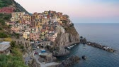 Day to night time lapse at Manarola, Cinque Terre, Italy, 4K Stock mozgókép