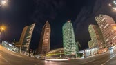 gece vakti : Berlin city skyline night timelapse at Potsdamer Platz, Berlin, Germany 4K Time lapse