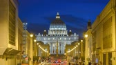 famous : Rome city skyline Saint Peter Basilica night timelapse, Vatican, Rome, Italy 4K Time lapse