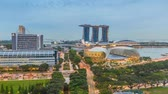 singapore : Singapore business district city skyline high angle view day to night timelapse, Marina Bay, Singapore 4K Time lapse