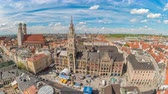 town hall : Munich city skyline timelapse at Marienplatz new Town Hall Square, Munich, Germany 4K Time lapse