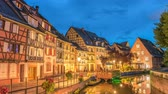 kereste : Colmar France time lapse 4K, Half Timber House city skyline day to night timelapse