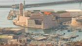 Marseille France time lapse 4K, city skyline timelapse at Vieux Port Stock Footage