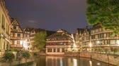 alsace : Strasbourg France time lapse 4K, Half Timber House city skyline day to night timelapse