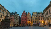 ストックホルム : Stockholm Sweden time lapse 4K, city skyline night to day timelapse at Gamla Stan old town and Stortorget