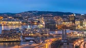 штрих код : Oslo Norway time lapse 4K, aerial view city skyline day to night sunset timelapse at business district and Barcode Project
