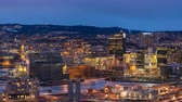 codice a barre : Oslo Norway time lapse 4K, aerial view city skyline day to night sunset timelapse at business district and Barcode Project