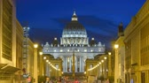 vaticano : Rome Vatican Italy time lapse 4K, city skyline night timelapse at Saint Peter Basilica