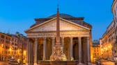 Rome Italy time lapse 4K, night to day sunrise timelapse at Pantheon