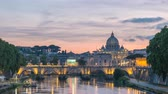 vaticano : Rome Vatican Italy time lapse 4K, city skyline day to night sunset timelapse at Tiber River