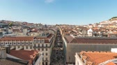 スカイライン : Lisbon Portugal time lapse 4K, city skyline timelapse at Augusta street