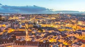 lisbona : Lisbon Portugal time lapse 4K, aerial view city skyline day to night sunset timelapse at Lisbon Baixa district