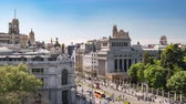 independencia : Madrid Spain time lapse 4K, aerial view city skyline timelapse at Independence Square and Cibeles Fountain