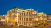 viyana : Vienna Austria time lapse 4K, city skyline night timelapse at Vienna State Opera Stok Video