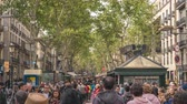 Barcelona Spain time lapse 4K, city skyline timelapse at La Rambla street