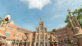 スカイライン : Barcelona Spain time lapse 4K, city skyline timelapse at Hospital de Sant Pau