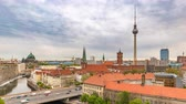 Berlin Germany time lapse 4K, city skyline timelapse at TV Tower and Spree River