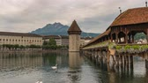 Lucerne (Luzern) Switzerland time lapse 4K, city skyline timelapse at Chapel Bridge