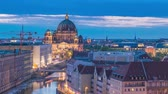 Berlin Germany time lapse 4K, high angle view city skyline day to night timelapse at Berlin Cathedral (Berliner Dom)