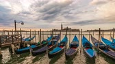 Venice Italy time lapse 4K, city skyline sunrise timelapse with Gondola boat