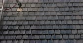 oiling : Cleaning of the newly installed wooden shingles from the houses roof. The roofsmen uses a hose and ladder to go to the roof and clean the black shingles 4K