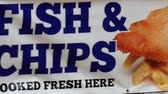 fish and chips : Fish and chips banner from an store in London
