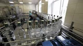 Brest Distillery. The conveyor with bottles of vodka. Stok Video