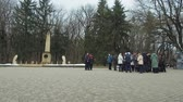 The place of the duel of the Russian poet Lermontov. Tourist groups near the commemorative stele. Stok Video