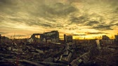 oordeel : Apocalyptic landscape. The ruins of the buildings were destroyed at sunset