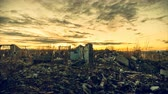 判決 : The post-apocalyptic world.Gloomy dawn over the ruins of the city