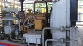 fossil fuel : Powerful compressor at a gas plant. Compressing and transporting gas to a pipeline system.