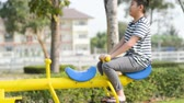 Happy boy playing seesaw outdoor, lifestyle concept Стоковые видеозаписи