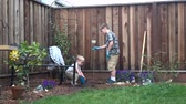 copy : Two boys planting a tree in backyard