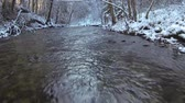 mountain river in the winter, slow motion video.