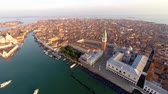 aerial view of venice, st marks square. video taken at sunrise.