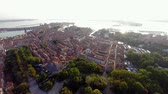 aerial view of venice at sunrise. video taken from near giardini towards the west end of the main island. Wideo