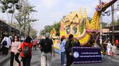 opening : CHIANG MAI, THAILAND - FEBRUARY 08 : People are interested in coming to visit fresh flowers decorate car in annual 39th Chiang Mai Flower Festival,  on February 08, 2015 in Chiang mai, Thailand.