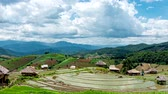 Time lapse, Clouds moving over the rice terrace fields reflected in the water at Pa Bong Piang village Chiang mai, thailand. Camera pan, video 4k