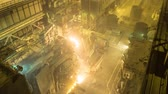 electrode : Electric arc furnace. Steel melting plant. Metal foundry Stock Footage