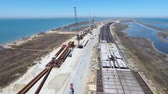 ferry crossing : Construction of the Crimean bridge. The process of building a bridge. Assembling spans and arches of the bridge. Stock Footage
