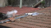 urban waste : Smoke from chimney, Smog coming out of the chimney. Stock Footage