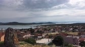 BALIKESIR, TURKEY - MAY 21 2016:  Seaside panorama of touristic town, Cunda Alibey Island, Ayvalik.  It is a small island in the northwestern Aegean Sea, off the coast of Ayvalik in Balikesir Turkey.