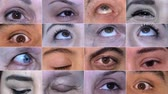 glamour make up : Different Colors of Eyes Macro Stock Footage