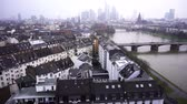 banka : Frankfurt Germany Maine River and Business Towers in Snowy Day Stok Video